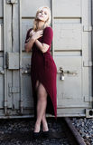 Blond Woman Standing Red Dress Outdoors Metal Container Stock Photos