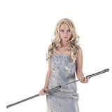 Blond woman with steel sword Royalty Free Stock Photography