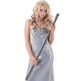 Blond woman with steel sword Royalty Free Stock Images