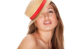 Blond woman and straw bonnet Royalty Free Stock Photo