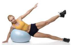 Blond woman stretching exercises Stock Image