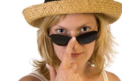 Blond woman with sunglasses Royalty Free Stock Photography