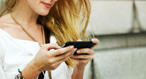 Blond Woman Surfing Internet Concept Royalty Free Stock Photography