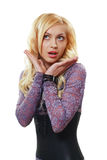 Blond woman surprized Royalty Free Stock Photography