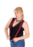 Blond woman with suspender. Stock Images