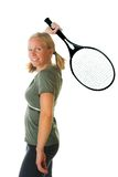 Blond woman with tennis racket Royalty Free Stock Images