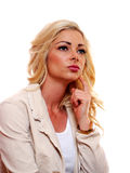 Blond woman thinking Stock Images