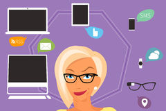 Blond woman thinking about gadgets and Royalty Free Stock Photography