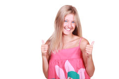 Blond woman with thumbs up. Beautiful blond woman with thumbs up royalty free stock photography
