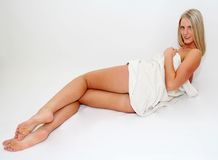 Blond Woman in Towel Stock Image