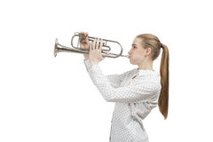 Blond woman with trumpet, isolated Royalty Free Stock Photo