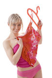Blond woman in undergarments Royalty Free Stock Photos