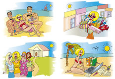 Blond woman on vacation Stock Images
