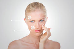 Blond woman verify the effects of her salve Royalty Free Stock Image