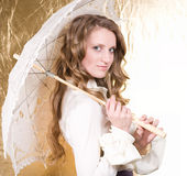 Blond woman with vintage umbrella Stock Image