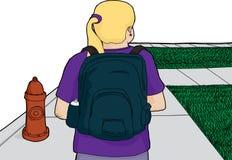 Blond Woman Walking on Sidewalk. Blond woman with backpack walking along sidewalk Royalty Free Stock Image