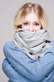 Blond woman in warm clothes. Stock Images
