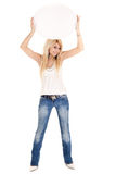 Blond woman waving billboard Royalty Free Stock Photo