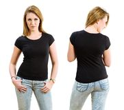Blond woman wearing blank black shirt. Young beautiful sexy woman with blank black shirt, front and back. Ready for your design or artwork Royalty Free Stock Images