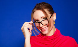 Blond woman wearing glasses Royalty Free Stock Photo