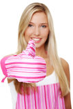 Blond woman wearing kitchen apron Stock Images