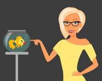 Blond woman wearing stylish haircut and glasses Stock Image