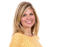 Blond woman on white background Royalty Free Stock Image