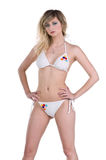 Blond Woman in White Bikini Royalty Free Stock Images