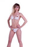 Blond Woman in White Bikini Royalty Free Stock Photo