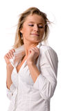 Blond woman in white shirt Royalty Free Stock Photos