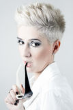 Blond woman with White Short Hair Isolated on white Stock Photography