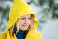 Blond woman in the winter forest Royalty Free Stock Photos