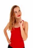 Blond woman wondering. Stock Photos