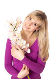 Blond womanl with orchid. Isolated on white Stock Image