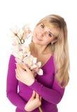 Blond womanl z orchideą Obraz Stock