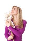Blond womanl z orchideą Zdjęcie Royalty Free
