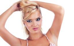 Blond women. Portrait of wonderful blond woman, studio shot Royalty Free Stock Image