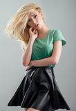 Blond women in a fashion clothes Stock Photos