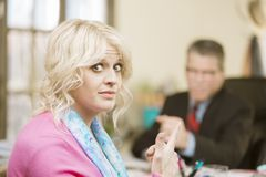 Woman Displeased with Male Colleague Royalty Free Stock Photo