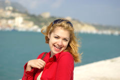 Blond women smiling Royalty Free Stock Images