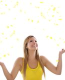 Blond women with yellow petals Royalty Free Stock Photography