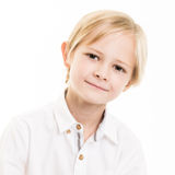 Blond Young Boy Isolated in White SHirt Stock Images