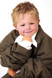 Blond young Boy in oversize business clothes Royalty Free Stock Photography