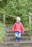 Blond young boy walking down steps Stock Image