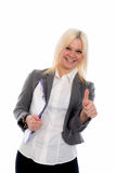 Blond young business woman with a clipboard Royalty Free Stock Image