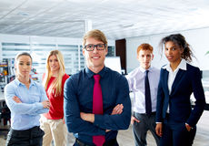 Blond young businessman multi ethnic teamwork Royalty Free Stock Photo