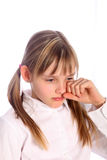 Blond, young girl crying Royalty Free Stock Images