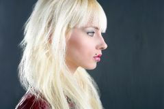Blond young girl profile portrait over gray Stock Photos