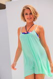 Blond young woman catwalk show Stock Photography