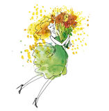 Blond young woman in green dress. With big bouquet of tulip flowers. Hand drawn watercolor illustration with sketch detail Royalty Free Stock Images
